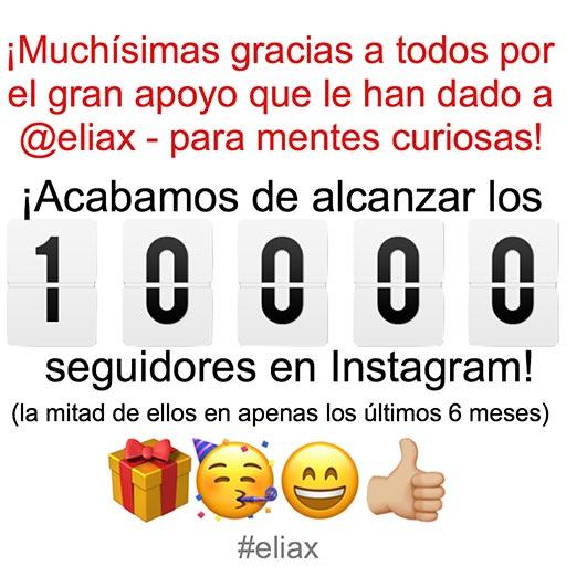 @eliax llega a 10000 seguidores en Instagram